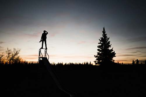 silhouette silhouette of a person standing on frame near tree during sunset man