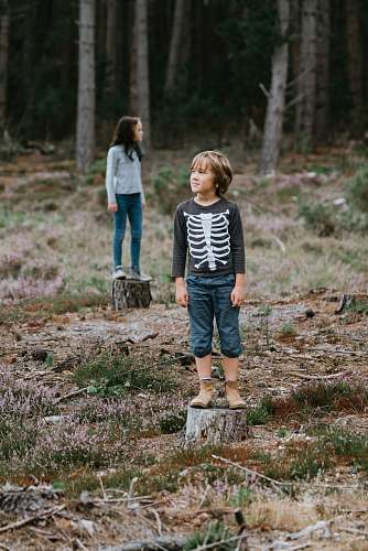 people boy standing on chopped log in middle of forest during daytime person