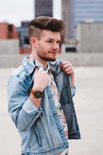 people man modeling denim jacket person