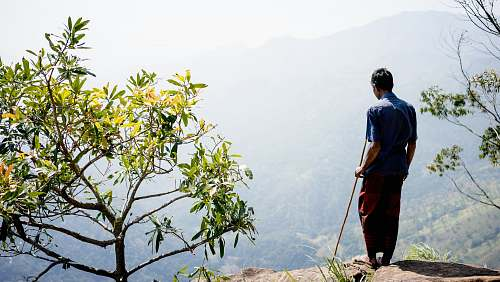 people man standing on mountain cliff beside green leaf plant during daytime person