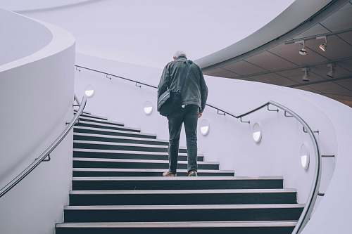 people man wearing black jacket standing on black concrete stairs person