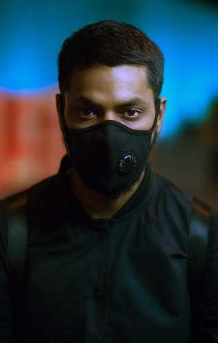 people man wearing black mask person