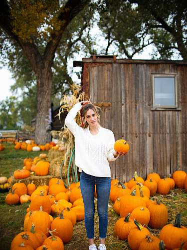 person woman carrying orange pumpkin people