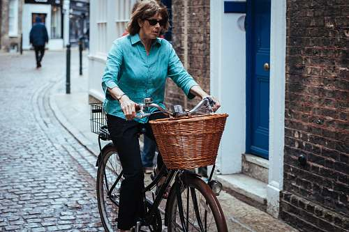 bicycle woman riding on bicycle on the street bike
