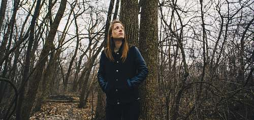 people woman staring up while leaning on brown tree forest
