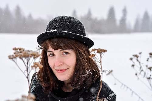 people women's black fedora hat person