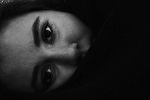 face Black and white close up of horizontal female face in Tehran Province black-and-white