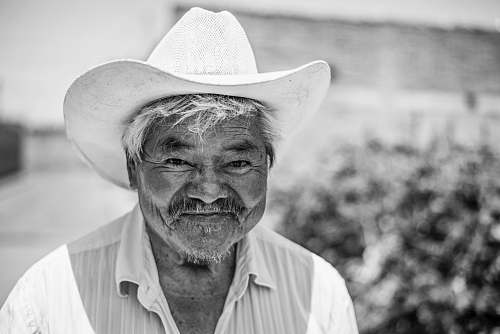 human grayscale photo of man wearing cowboy hat black-and-white