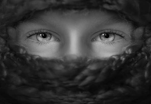 black-and-white grayscale shot of person's eyes grey