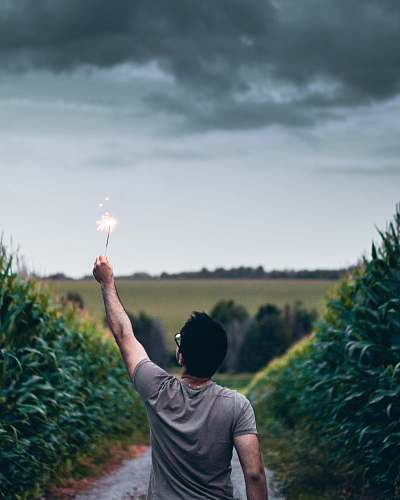 person man standing on pathway holding sparkler human