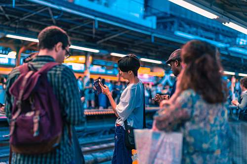 human people waiting train at daytime person