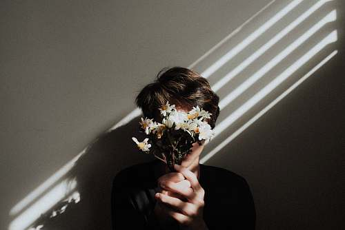 human person holding white daisy flowers person