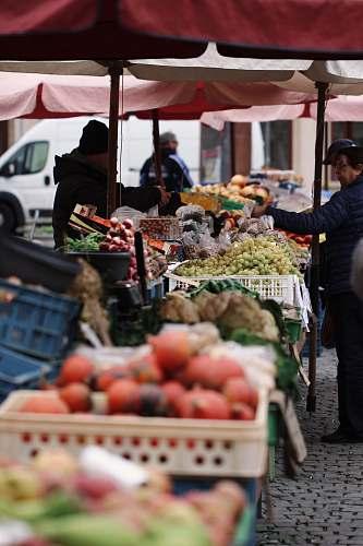 human person in black jacket holding fruit during daytime market