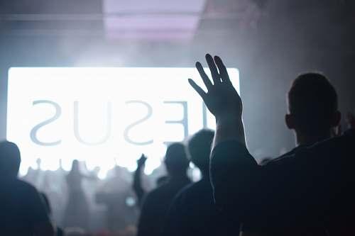 worship silhouette of people raising hands human
