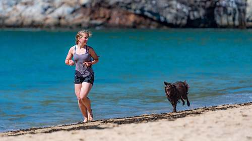 person woman and dog running in seashore beach