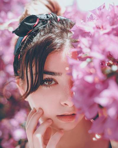 human woman hiding on pink petaled flowers person