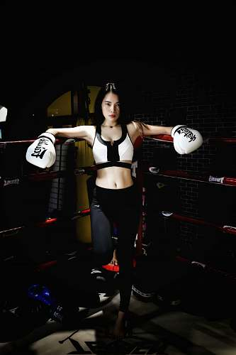 human woman inside boxing ring person