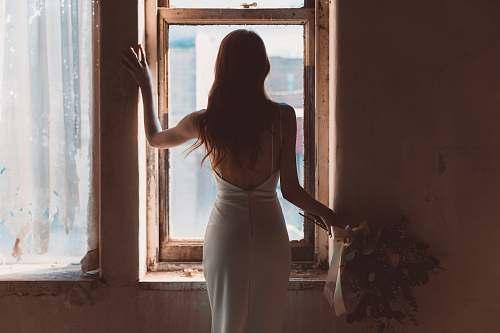 human woman near window person