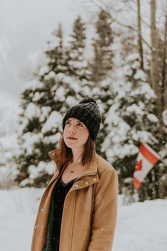 female woman standing on snow covered place beanie