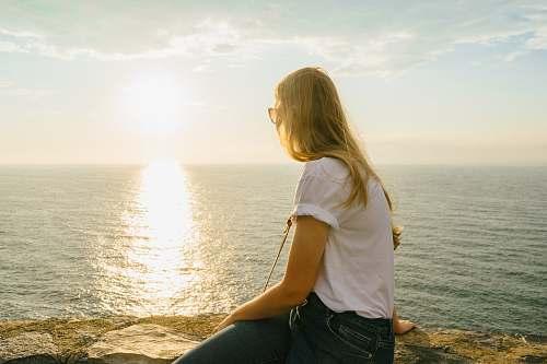 human woman staring at horizon person