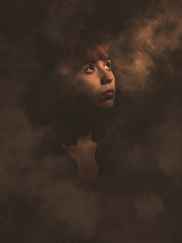 person woman surrounded by smoke illustration human