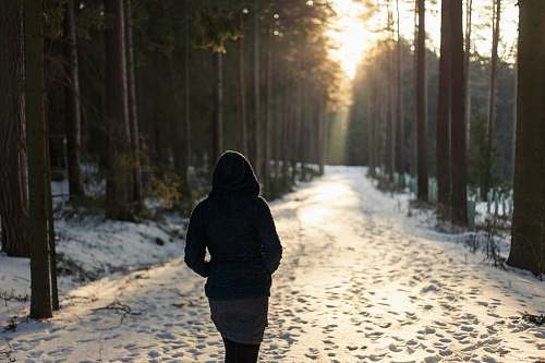 human woman walking on snowfield pathway person