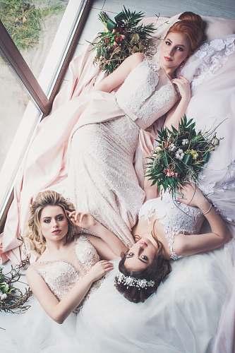 human women's pink floral wedding dress wedding