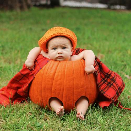 human baby in red pumpkin people