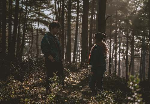 people couple in woods during daytime forest