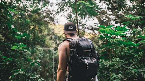 people man carrying backpack in front of trees during daytime human