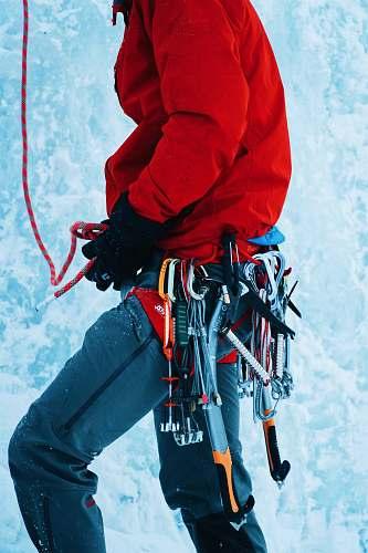 people man setting up hiking belt human