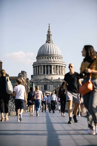 people people walking on bridge human