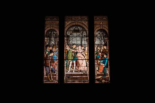 people white and multicolored people dancing stain glass human