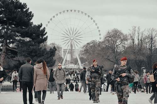 people white ferris wheel near trees human