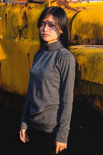 human woman in black long-sleeved tee shirt people