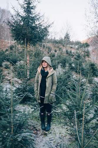 people woman standing near pine trees woman