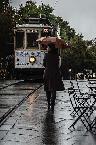 human woman wearing brown coat walking on street while holding umbrella people
