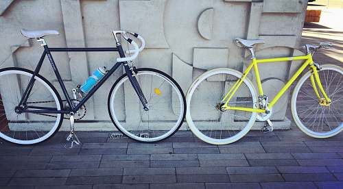 bike two fixie bicycles beside each other transportation