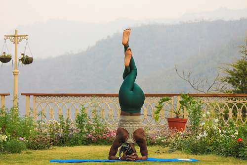 sports woman doing fitness headstand fitness