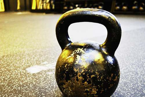 gym black kettle bell on floor kettlebell