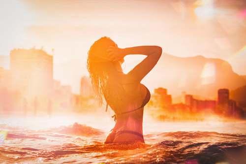 exercise woman in black bikini top sports