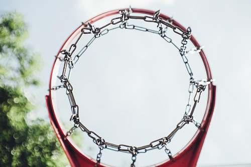 blue gray and red metal basketball hoop purple