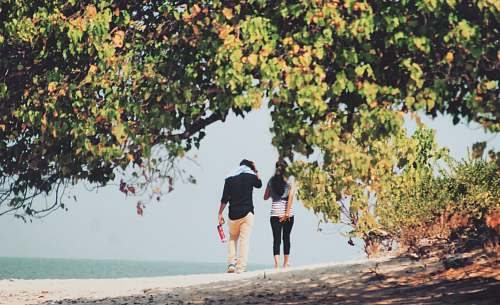 person man and woman walking on seashore during daytime people