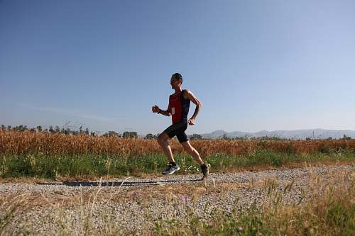 person man red and black top running on farm road sport