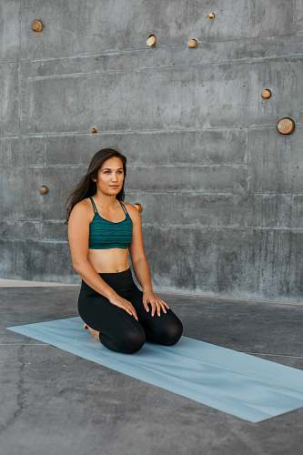 person woman on yoga mat female