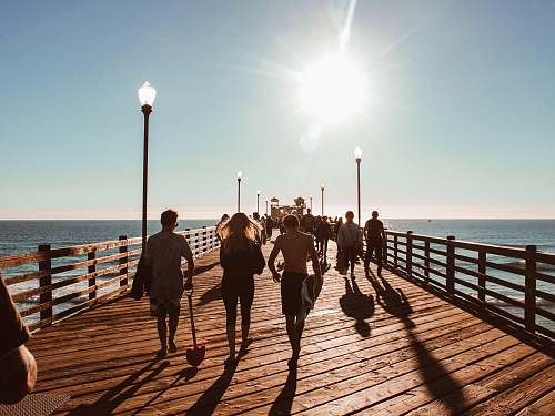 person people walking towards on brown wooden dock human