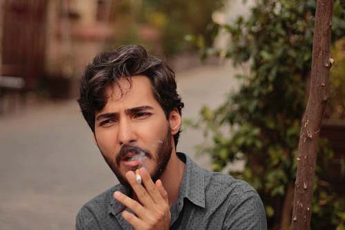 human man smoking near green leaf plant face