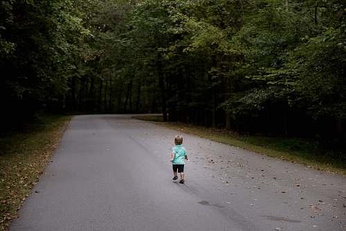 path children sitting on road kid
